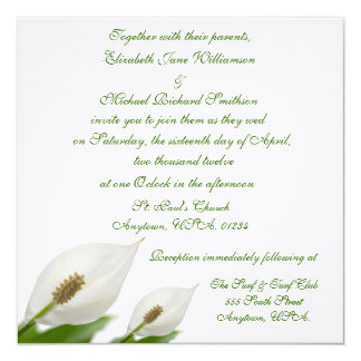 Calla Lily Flowers White Wedding Card