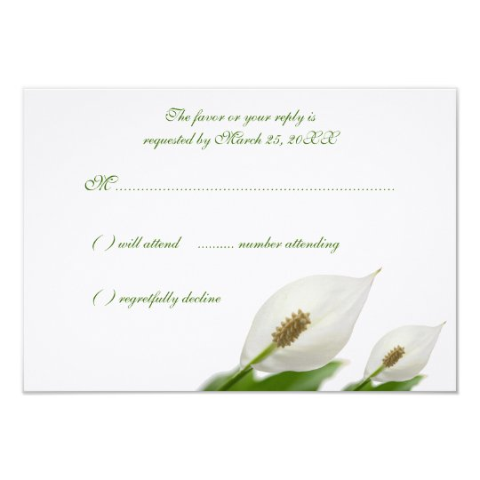 Calla Lily Flowers White Wedding Response Cards
