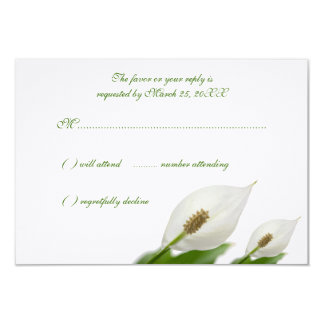 "Calla Lily Flowers White Wedding Response Cards 3.5"" X 5"" Invitation Card"