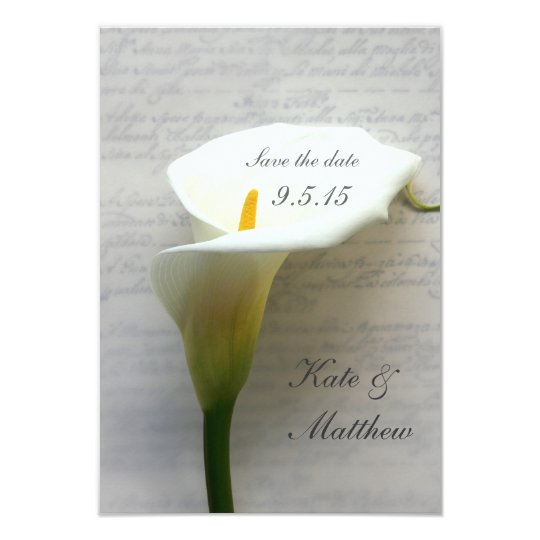 Calla lily on handwriting save the date card
