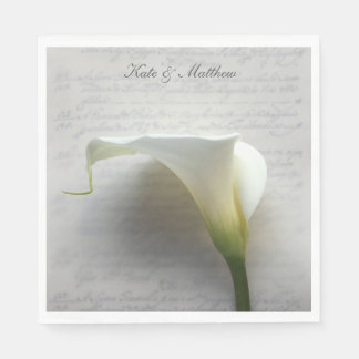 Calla lily on old handwriting disposable napkin