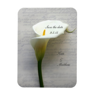 Calla lily on old handwriting vinyl magnet
