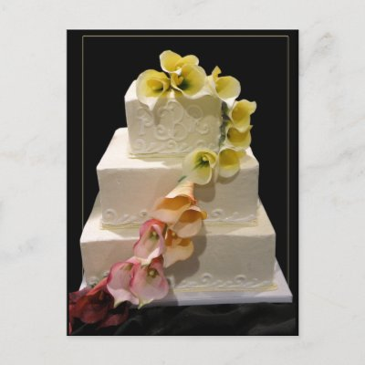 Calla lily wedding cake postcard by perfectpostage