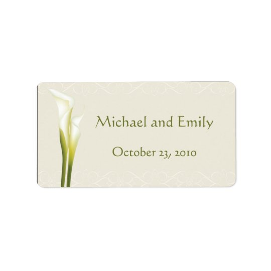 Calla Lily Wedding Favour Labels
