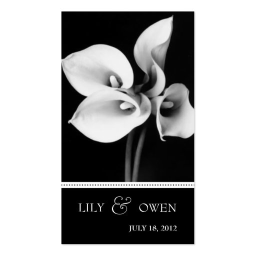 calla lily wedding website business cards