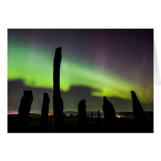 Callanish Standing stones and aurora Card