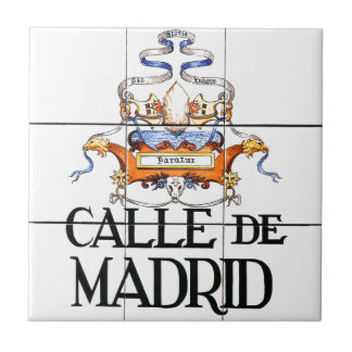Calle de Madrid, Madrid Street Sign Small Square Tile