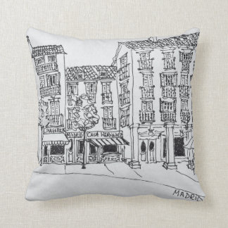 Calle de Toledo shopping street, Madrid, Spain Cushion