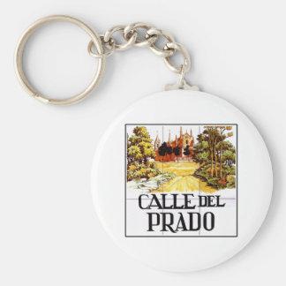 Calle del Prado, Madrid Street Sign Basic Round Button Key Ring