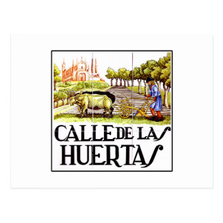 Calle Huertas, Madrid Street Sign Postcard