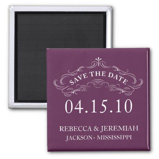 Calligraphic Flourish Save the Date Magnet