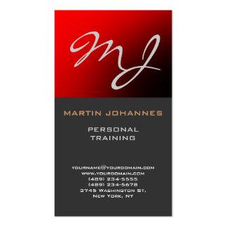 Calligraphic Monogram Red Grey Business Card
