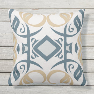 Calligraphic Outdoor Pillow in Blue and Gold
