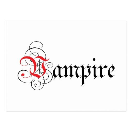 Calligraphic  Vampire Postcard
