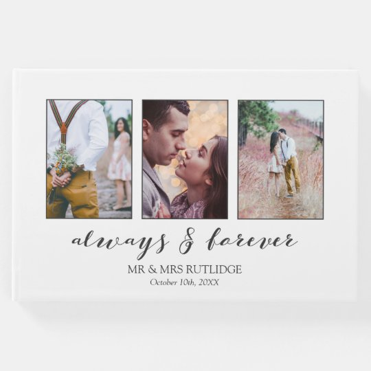 Calligraphy Always & Forever Photo Collage Wedding Guest