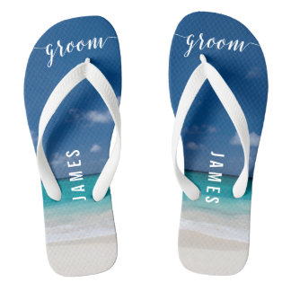 Calligraphy Beach Groom Wedding Party Flip Flops