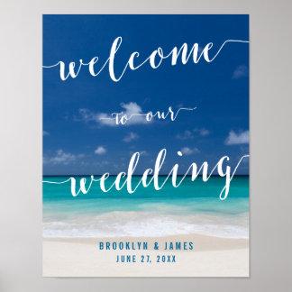 Calligraphy Beach Wedding Reception Sign Print