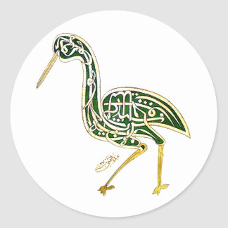 Calligraphy Bird (Stork) Classic Round Sticker