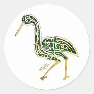 Calligraphy Bird (Stork) Round Sticker