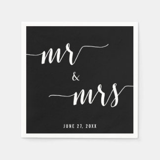 Calligraphy Black Wedding Napkins Disposable Serviettes