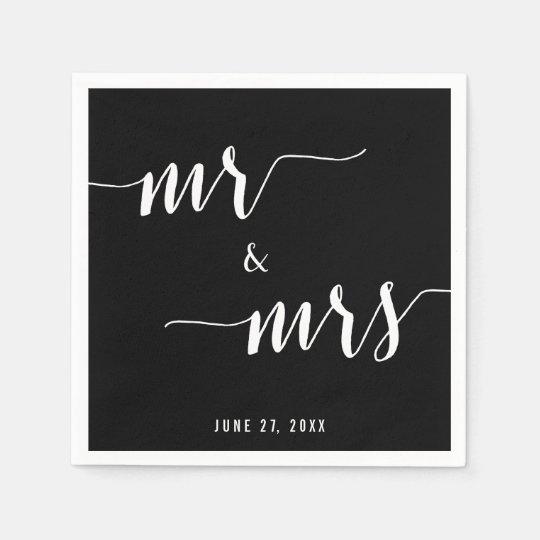 Calligraphy Black Wedding Napkins Disposable Serviettes