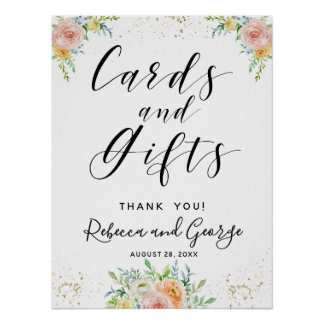 Calligraphy Cards and Gifts floral blush and gold Poster