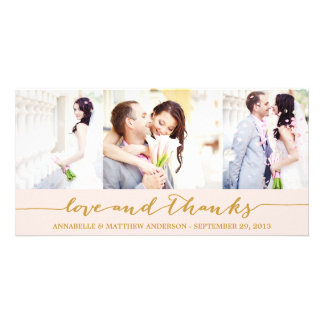 CALLIGRAPHY COLLAGE WEDDING THANK YOU PHOTO CARD