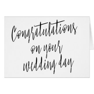 "Calligraphy ""Congratulations on your wedding day"" Card"
