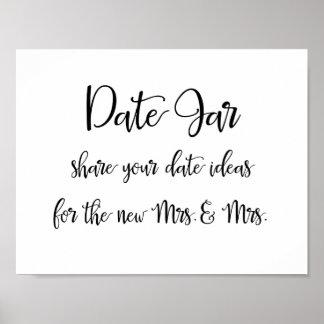 Calligraphy   Date jar ideas lesbian wedding sign Poster