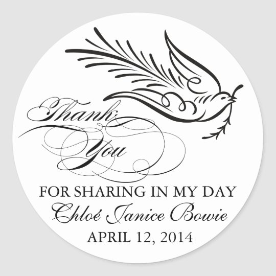 Calligraphy Dove and Thank You Text Classic Round