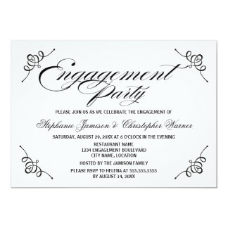 Calligraphy Elegance Engagement Party 5x7 Paper Invitation Card