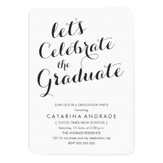Calligraphy Graduation Party Photo Black White Card