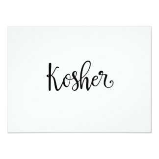"Calligraphy | ""Kosher"" Dietary Needs Sign 17 Cm X 22 Cm Invitation Card"