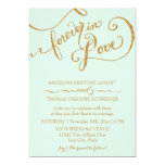 Calligraphy Mint Script Forever Love Gold Glitter 13 Cm X 18 Cm Invitation Card