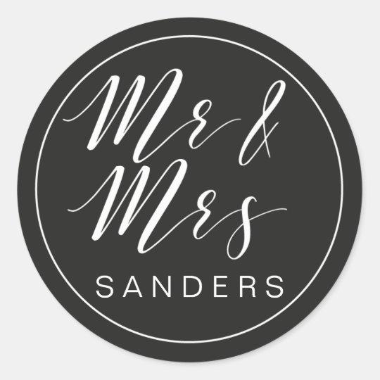 Calligraphy Mr and Mrs custom sticker black