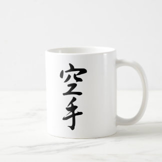 Calligraphy of the Japanese Word Karate Basic White Mug