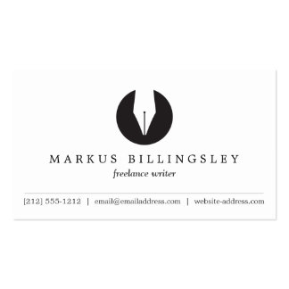 CALLIGRAPHY PEN NIB LOGO 3 for Authors or Writers Pack Of Standard Business Cards