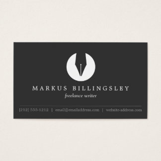 CALLIGRAPHY PEN NIB LOGO 4 for Authors or Writers Business Card