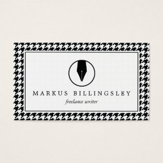 Calligraphy Pen Nib Logo with Houndstooth Pattern