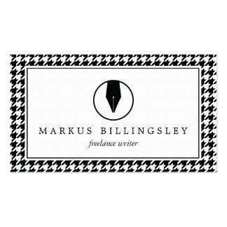 Calligraphy Pen Nib Logo with Houndstooth Pattern Pack Of Standard Business Cards