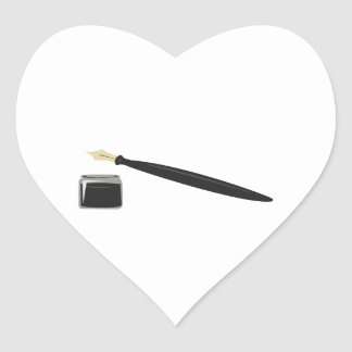 Calligraphy Pen Heart Sticker