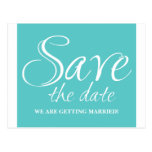 Calligraphy Save the Date Postcard, Turquoise