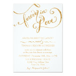 Calligraphy Script Forever in Love Gold Glitter 13 Cm X 18 Cm Invitation Card