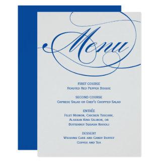 Calligraphy Script Menu Card | Orchid Blue