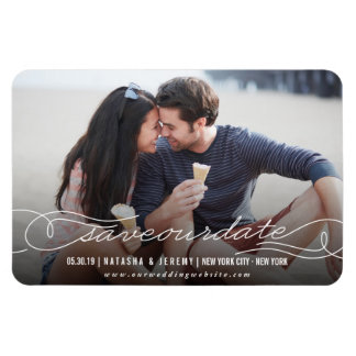 Calligraphy Script Save The Date Photo Magnetic Rectangular Photo Magnet