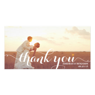 CALLIGRAPHY SCRIPT WEDDING THANK YOU PHOTO CARD