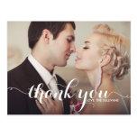 Calligraphy Script Wedding Thank You Photo Postcard