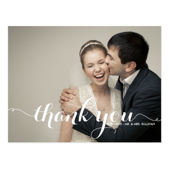CALLIGRAPHY SCRIPT WEDDING THANK YOU POSTCARD II
