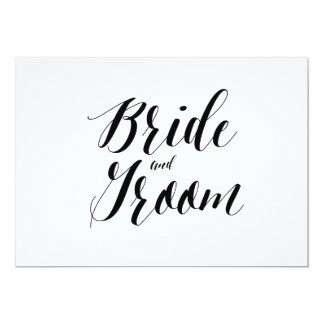 """Calligraphy Style """"Bride and Groom"""" Wedding Sign Card"""