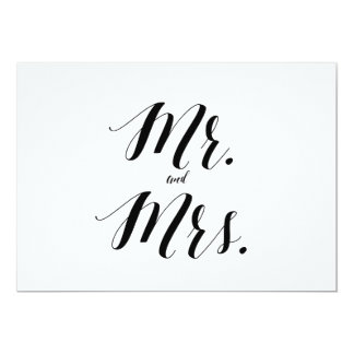 """Calligraphy Style """"Mr. and Mrs."""" Wedding Sign Card"""